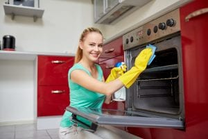 reducing self-cleaning oven odors